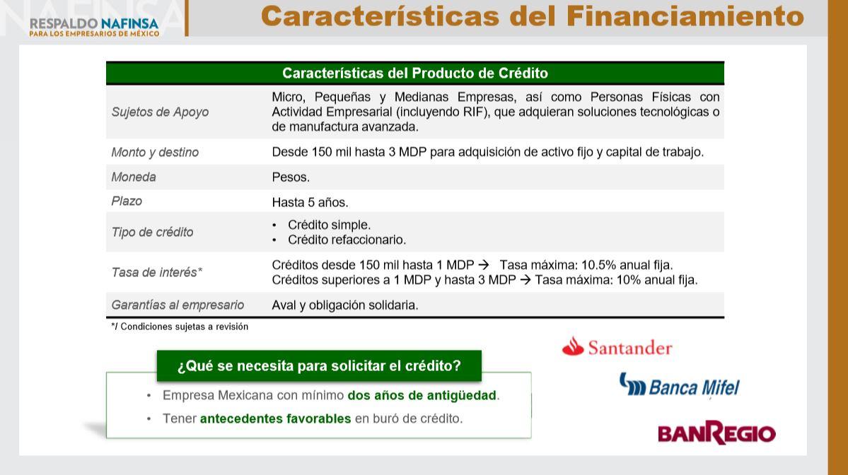 Propuesta de Financiamiento TICs Gasolineros - Características del Financiamiento