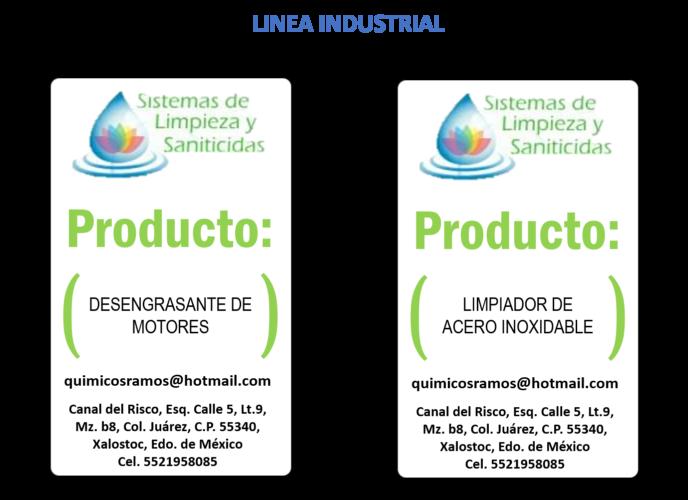 SISTEMA DE LIMPIEZA Y SANITICIDAS - LINEA INDUSTRIAL