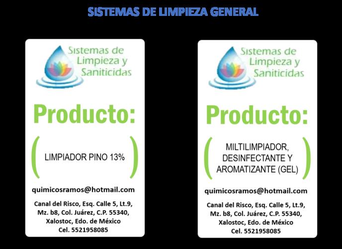 SISTEMA DE LIMPIEZA Y SANITICIDAS - SISTEMAS LIMPIEZA GENERAL