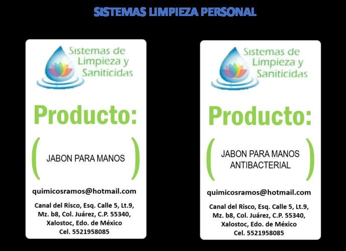 SISTEMA DE LIMPIEZA Y SANITICIDAS - SISTEMAS LIMPIEZA PERSONAL