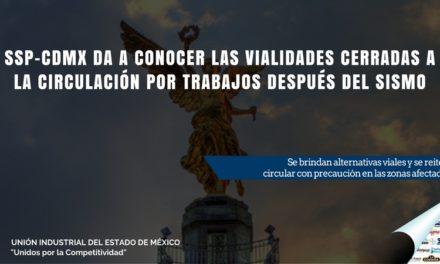 SSP-CDMX DA A CONOCER LAS VIALIDADES CERRADAS A LA CIRCULACIÓN POR TRABAJOS DESPUÉS DEL SISMO