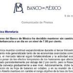 Boletín del Banco de México 9 de noviembre de 2017 – Anuncio de Política Monetaria