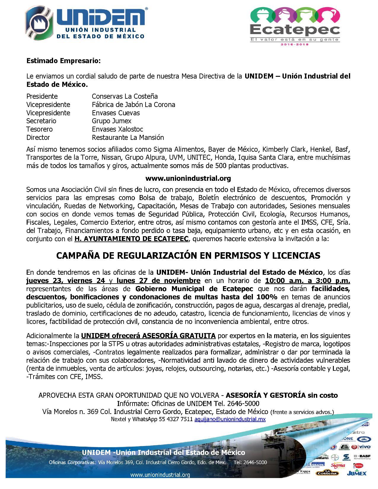 Oficio - Campana de regularizacion en permisos y licencias