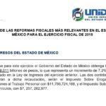 SÍNTESIS DE LAS REFORMAS FISCALES MÁS RELEVANTES EN EL ESTADO DE MÉXICO PARA EL EJERCICIO FISCAL DE 2018