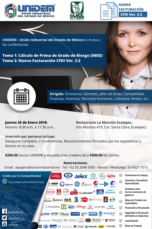 UNIDEM - Conferencias Tema 1: Cálculo de Prima de Grado de Riesgo (IMSS) - Tema 2: Nueva Facturación CFDI Ver. 3.3