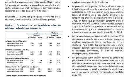 Encuesta sobre las Expectativas de los Especialistas en Economía del Sector Privado: Enero de 2018