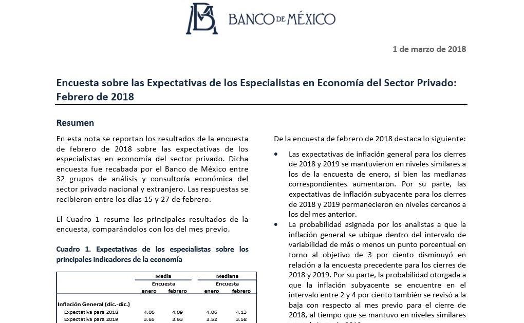 Encuesta sobre las Expectativas de los Especialistas en Economía del Sector Privado Febrero de 2018