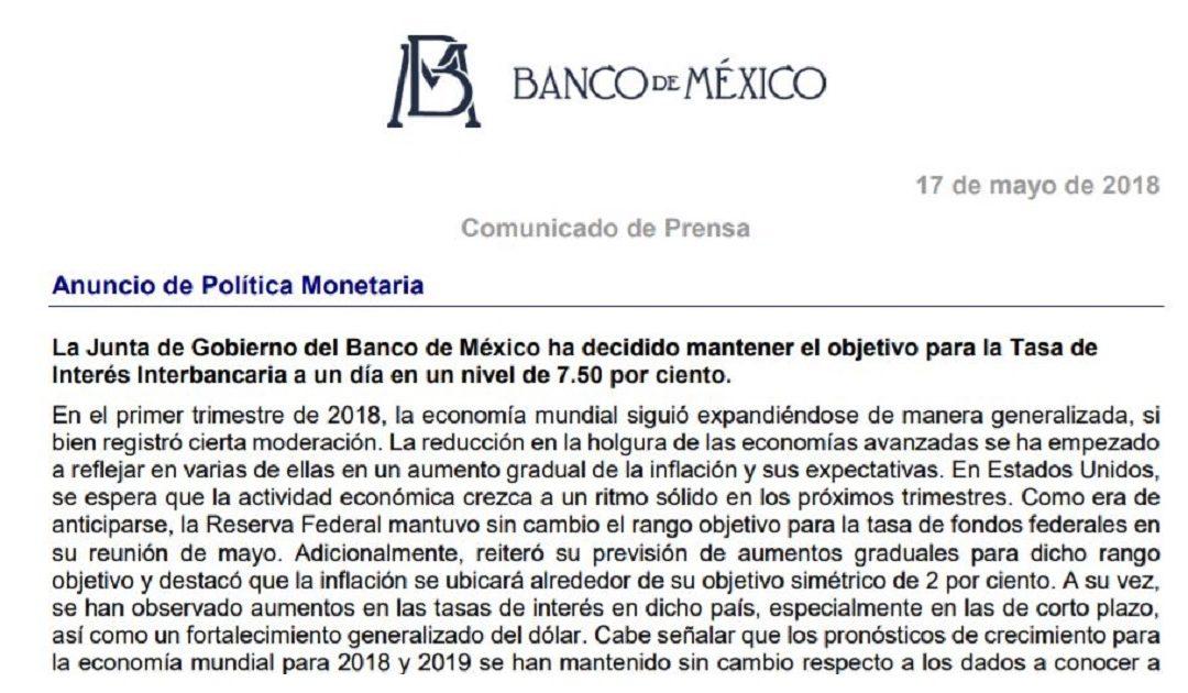 Banco de México, comunicado de Prensa – Anuncio de Política Monetaria