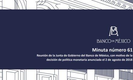 Minuta de la reunión de la Junta de Gobierno del Banco de México, con motivo de la decisión de política monetaria anunciada el 2 de agosto de 2018.