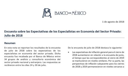 Encuesta sobre las Expectativas de los Especialistas en Economía del Sector Privado: Julio de 2018