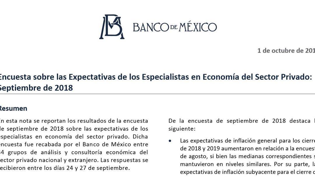 Encuesta sobre las Expectativas de los Especialistas en Economía del Sector Privado: Septiembre de 2018.