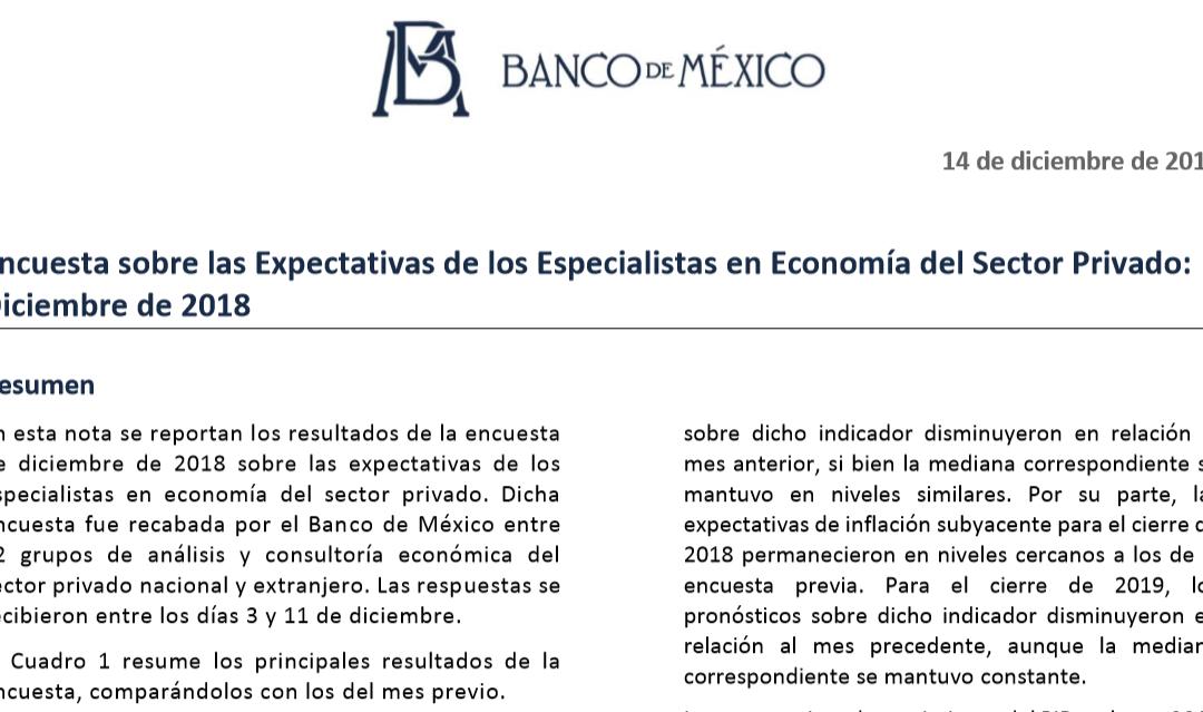 Encuesta sobre las Expectativas de los Especialistas en Economía del Sector Privado: Diciembre de 2018