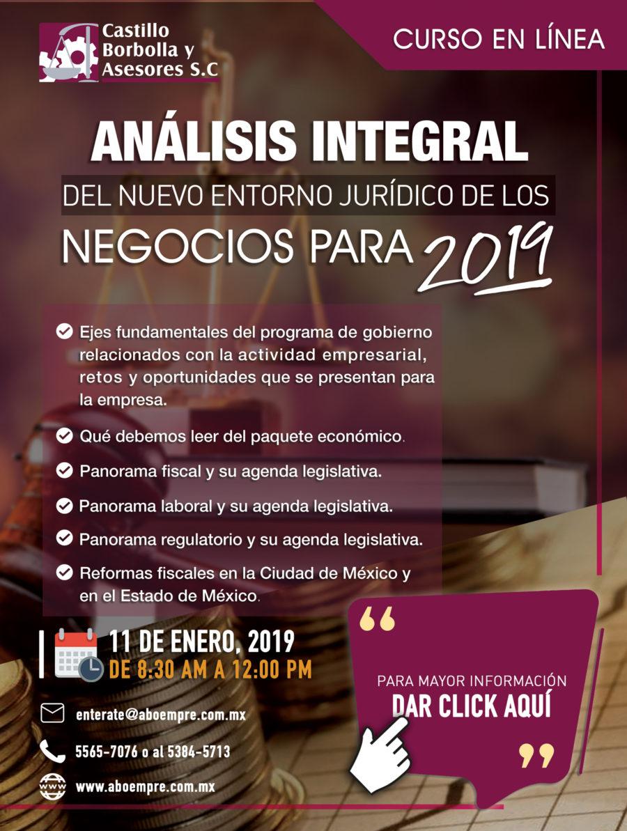 Curso Análisis Integral del Nuevo Entorno Jurídico de los Negocios Para 2019
