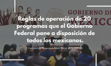 Reglas de operación de 20 programas que el Gobierno Federal pone a disposición de todos los mexicanos.