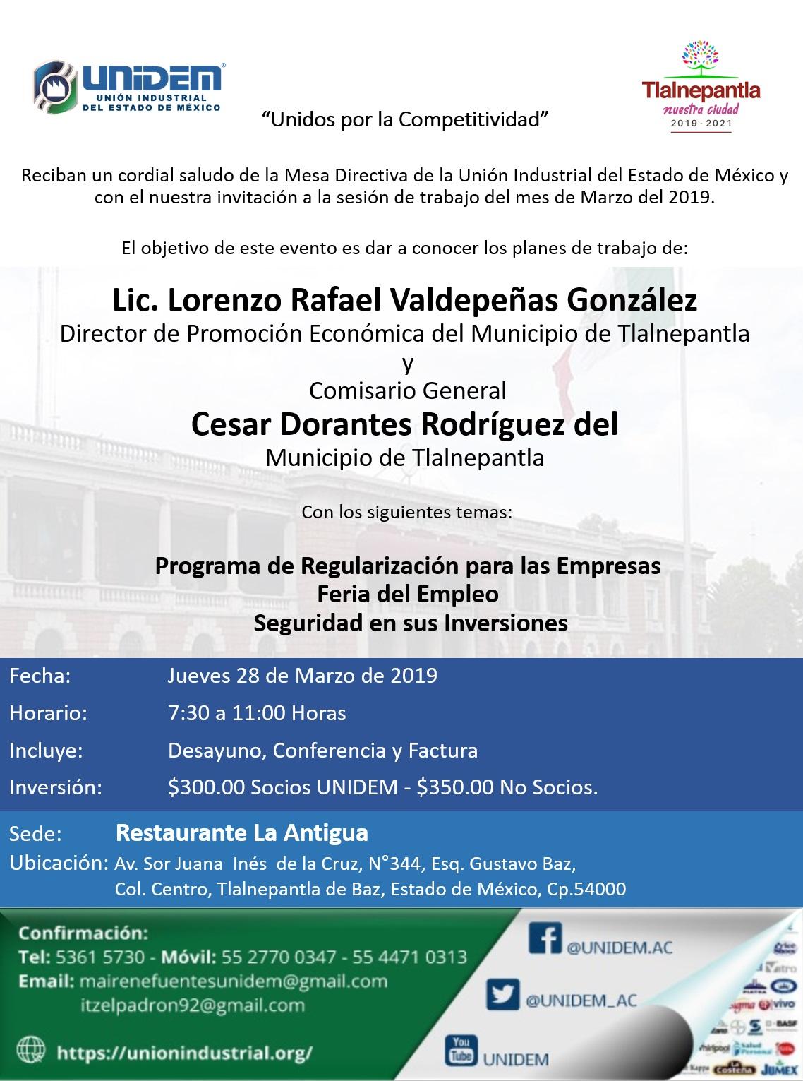 UNIDEM - Sede Tlalnepantla SESIÓN DE TRABAJO DEL MES DE MARZO DEL 2019.