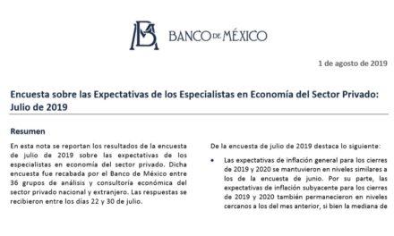 Encuesta sobre las Expectativas de los Especialistas en Economía del Sector Privado: Julio 2019