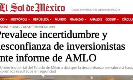 Prevalece incertidumbre y desconfianza de inversionistas ante informe de AMLO.