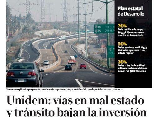 UNIDEM: Vías en mal estado y tránsito bajan la inversión.