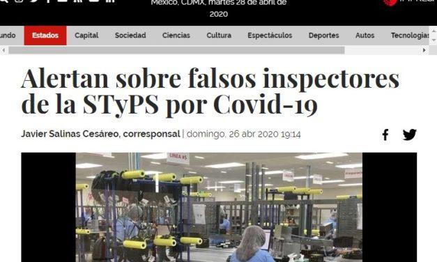 Alertan sobre falsos inspectores de la STyPS por Covid-19.
