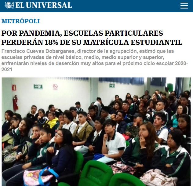 Por pandemia, escuelas particulares perderán 18% de su matrícula estudiantil.