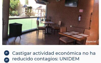 CASTIGAR ACTIVIDAD ECONÓMICA NO HA REDUCIDO CONTAGIOS: UNIDEM.