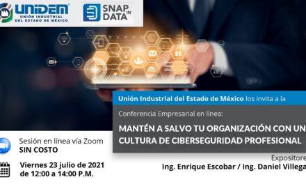 Conferencia Empresarial en línea: MANTÉN A SALVO TU ORGANIZACIÓN CON UNA CULTURA DE CIBERSEGURIDAD PROFESIONAL