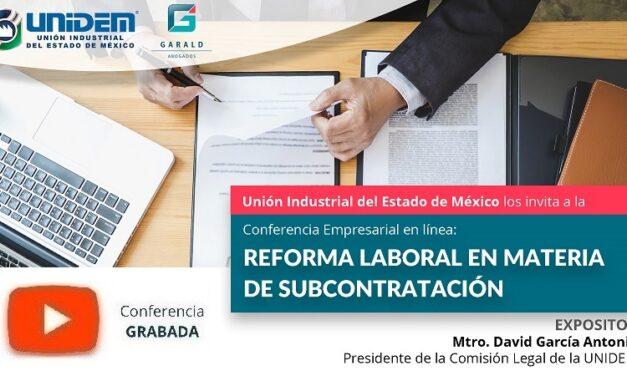 (Evento Grabado) Conferencia Empresarial en línea: REFORMA LABORAL EN MATERIA DE SUBCONTRATACIÓN