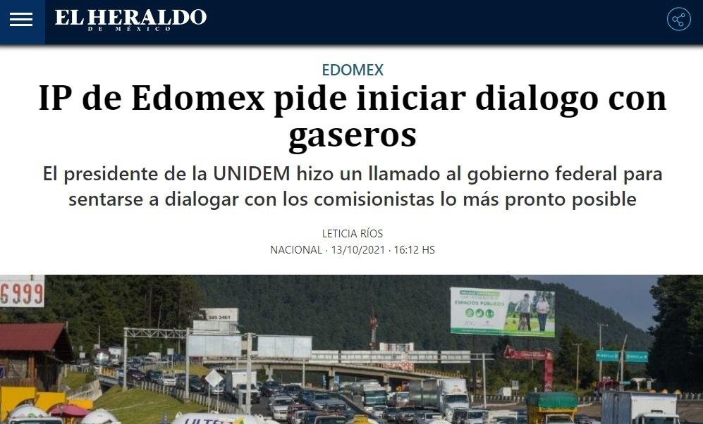 IP DE EDOMEX PIDE INICIAR DIALOGO CON GASEROS